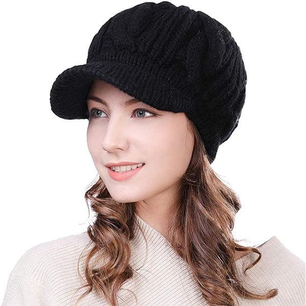 Women's Wool Winter Hat With Visor
