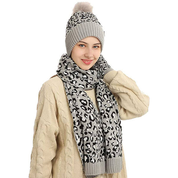 Acrylic Warm Knitted Beanie Glove Scarf Set For Women