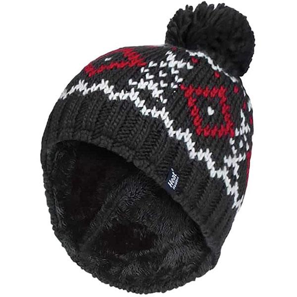 Fleece Lined Pom Pom Winter Hat for Men