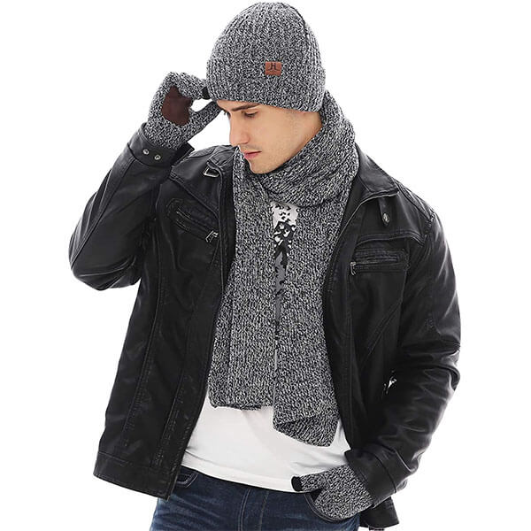 Ribbed Knit Winter Hat Scarf And Glove Pair For Men