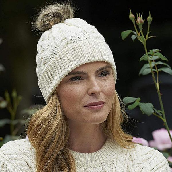 Irish Cable Knitted Women's Wool Beanie