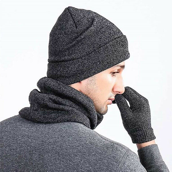 Men's Winter Beanie Hat With Touch Screen Gloves And Warm Scarf Set