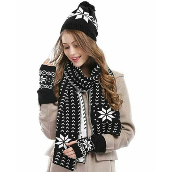 Thick Warm Hat Scarf And Glove Set For Women
