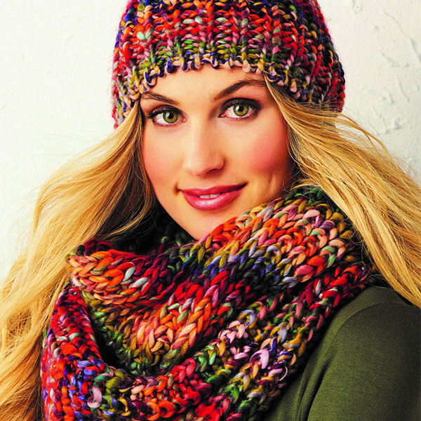Women's Hand Knitted Confetti Hat And Scarf Set