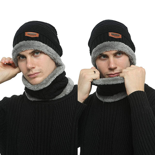 Knit Beanie and Scarf Set for Men and Women
