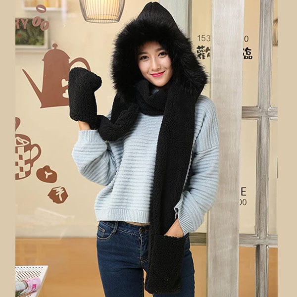Soft Plush Winter Scarf Hat And Gloves Set For Women