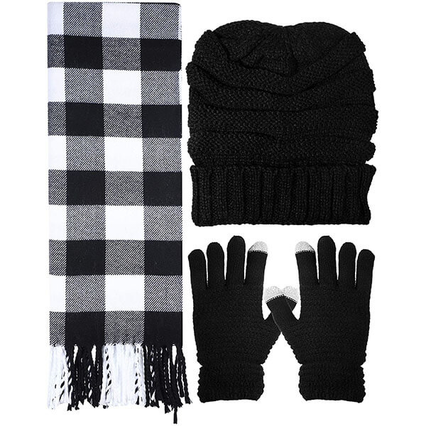 Winter Warm Set Knitted Beanie Hat Gloves and Soft Scarf For Men