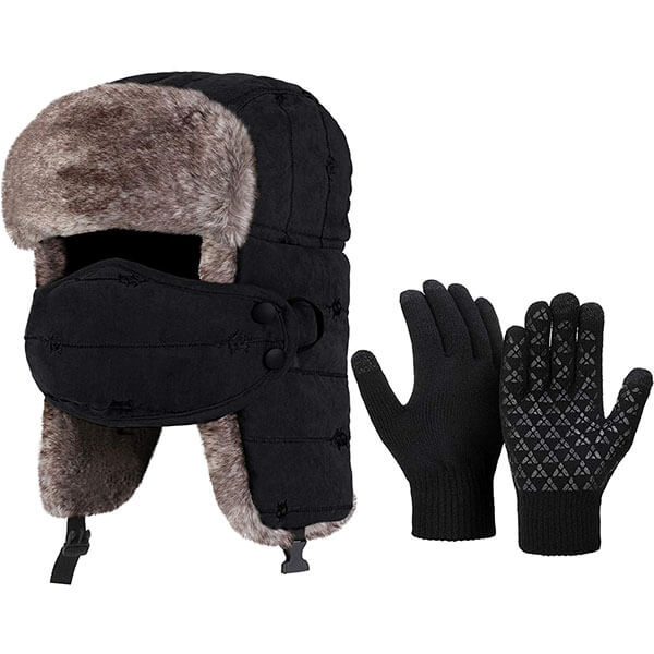 Men's Windproof Trapper Hat With Ear Flaps And Glove Set