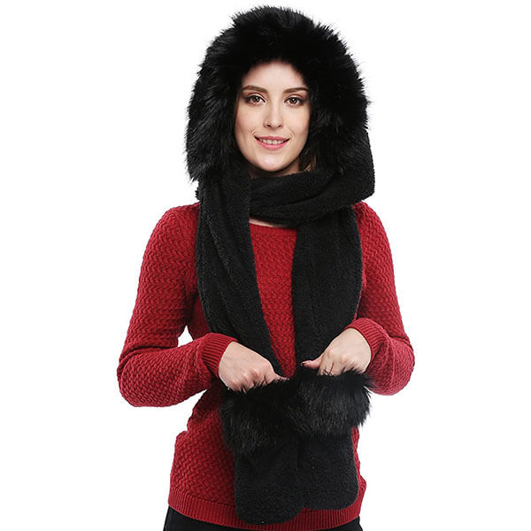 Soft Hoodie Hat Scarf And Mittens All In One Set For Women