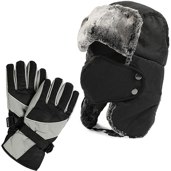 Ushanka Trapper Hat with Faux Fur Gloves and Mask For Men