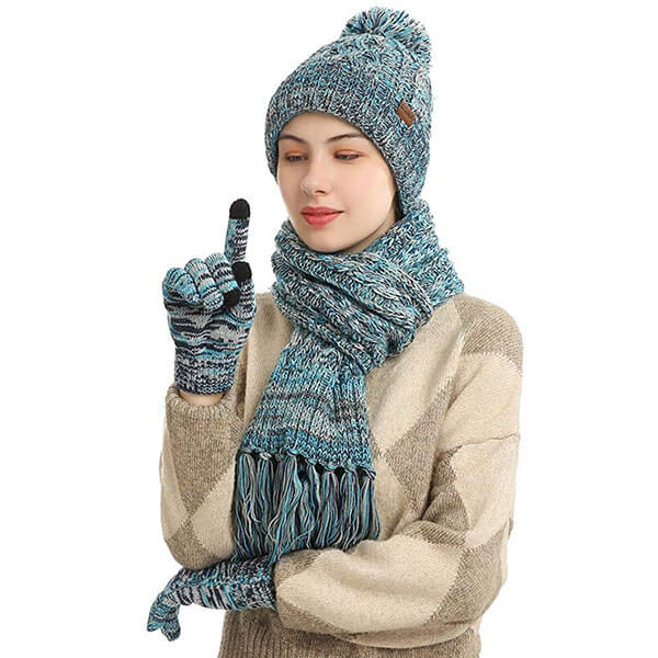 Warm Thick Lining Knitted Hat Scarf Glove Set For Women