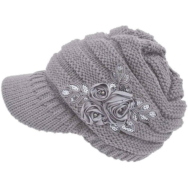 Cable Knit Beanie With Sequined Flower