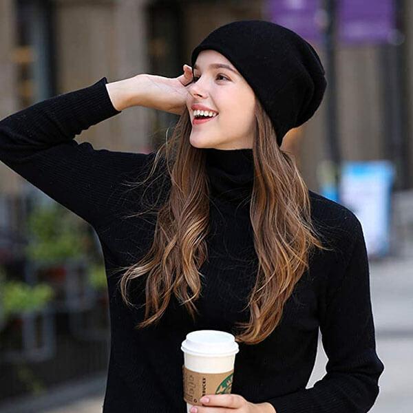 Double Layered Women's Wool Winter Hat