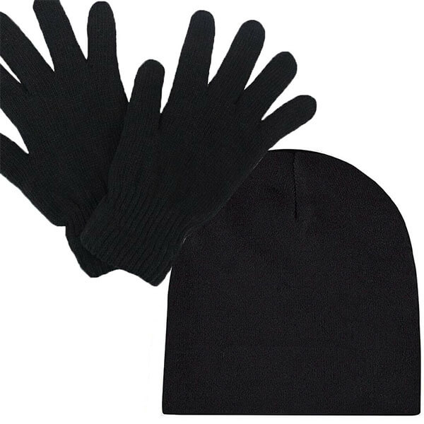 Men's Warm Thermal Insulated Beanie Hat And Gloves Set