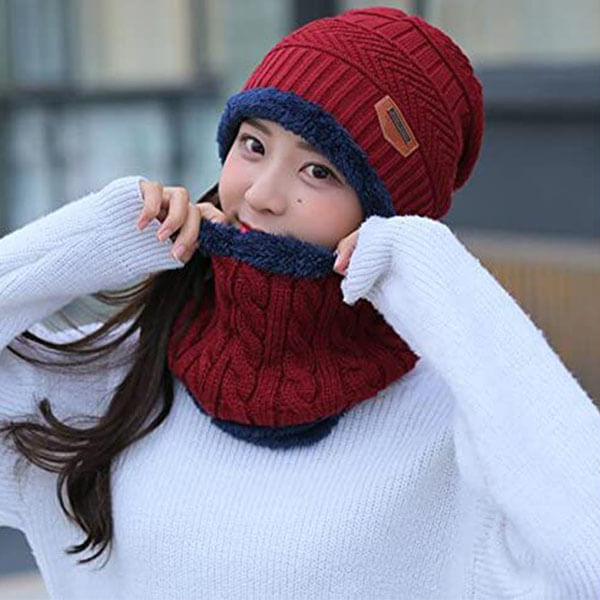 Winter Beanie Hat Scarf Set