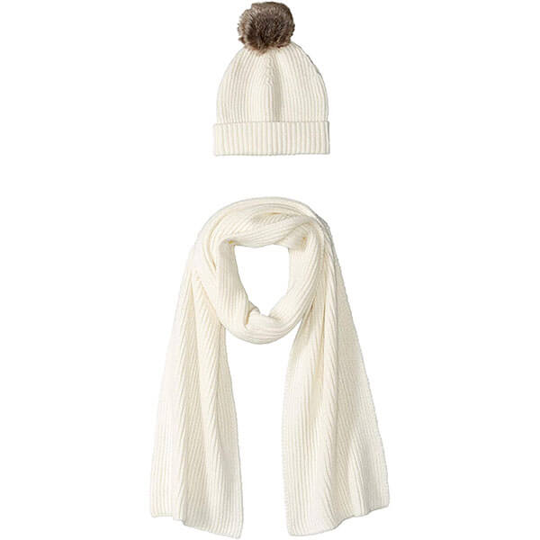 Women's Knit Design Pom Hat And Scarf Set