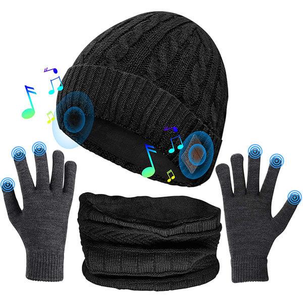 Bluetooth Beanie Neck Warmer Scarf And Gloves Set