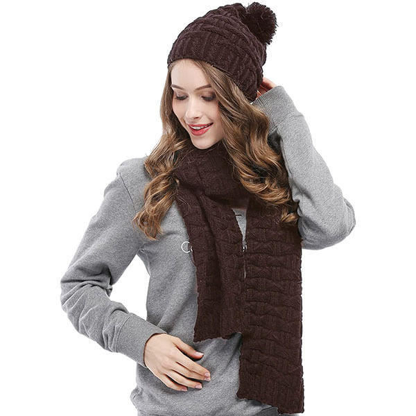 Fashionable Warm Winter Knitted Scarf And Hat Set For Women