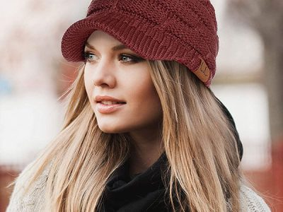 Ribbed Knit Hat with Visor