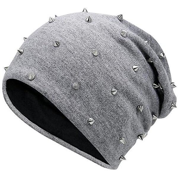 Unisex Punk Rock Studded Beanie Hat
