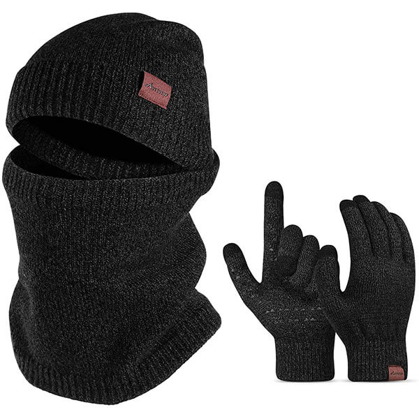 Warm Knitted Hat Scarf And Touch Screen Gloves Collection For Men
