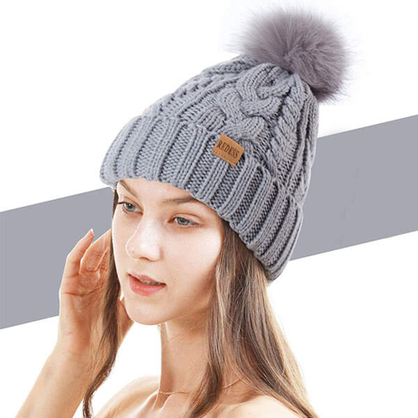 Winter Pompom Beanie Hat For Women