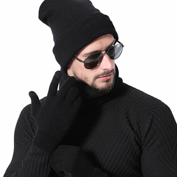 Hot Thermal Knitted Men's Winter Hats And Glove Pair