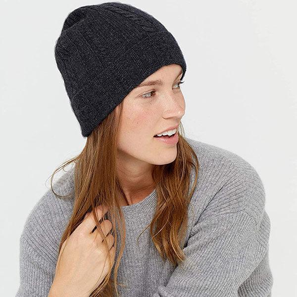 Knit Cuffed Woolen Winter Cap For Women
