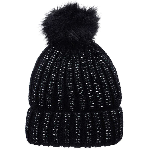 Warmed Cuff Beanie with Studs and Faux Pom