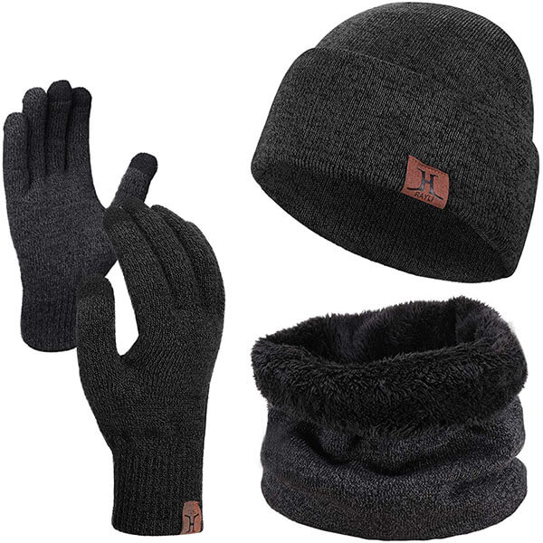 Winter Skull Cap With Touch Screen Gloves