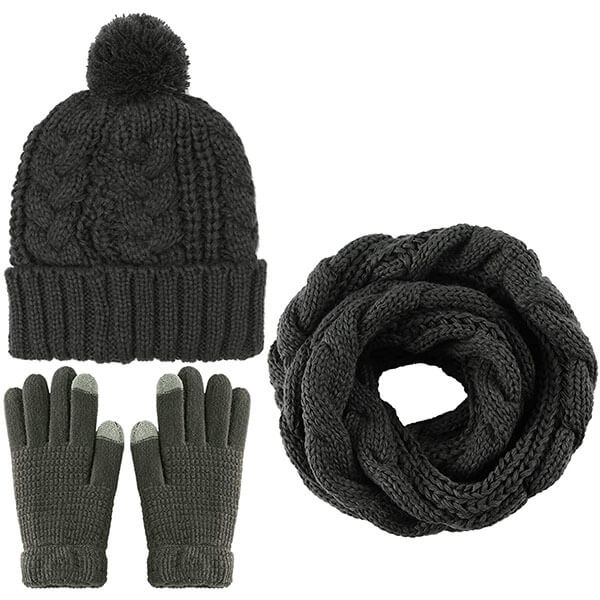 Women's Winter Warm Soft Stretch Hat Scarf And Gloves Set