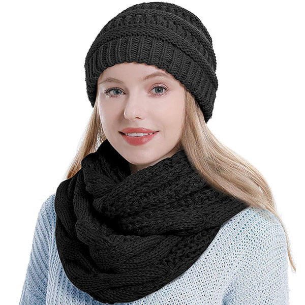 Hat And Scarf Set With Knitting For Women