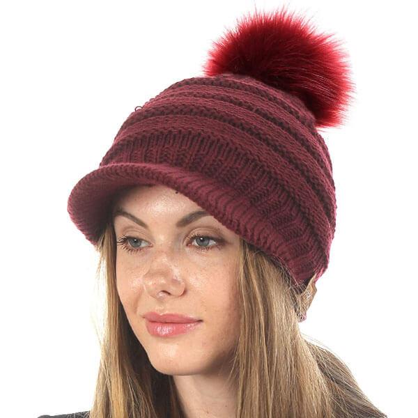 Pom-Pom Hat Beanie With Push Lining