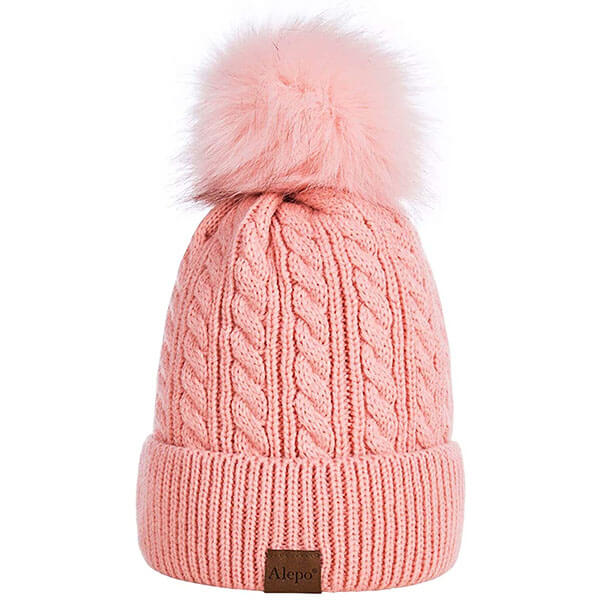 Soft Ski Cuff Cap With Pom-Pom