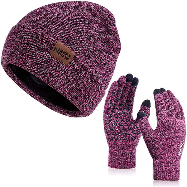 Winter Beanie Set With Silicone Anti-Slip Gloves
