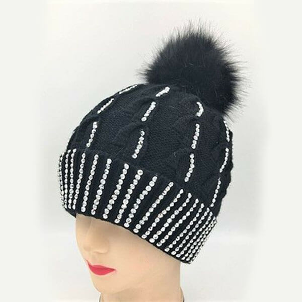 Cable Knit Rhinestone Studded Beanie Hat for Women