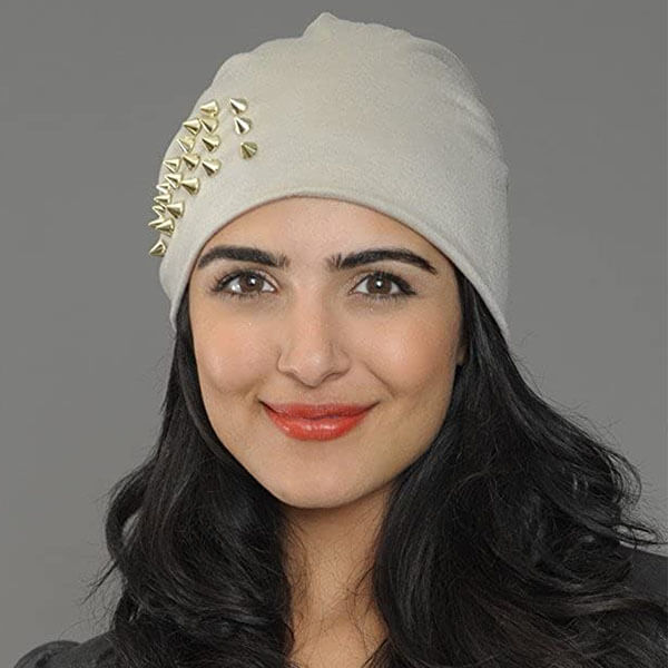 Gold Spike Studded Beanie Hat