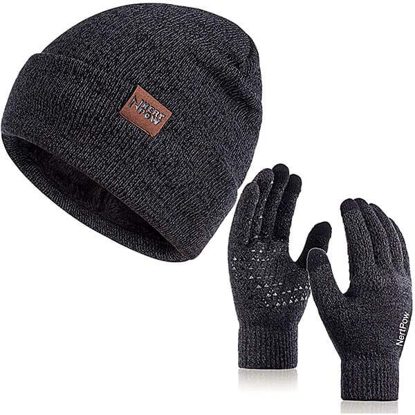 Knit Fleece Lined Warm Men's Winter Hat And Gloves
