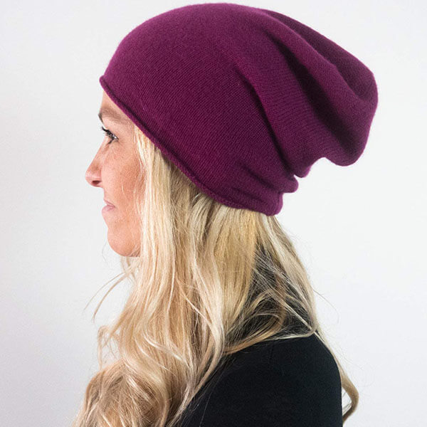 Pure Cashmere Wool Slouchy Beanie Hat