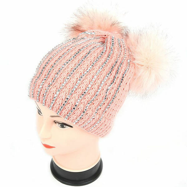 Studded Rhinestone Winter Hat for Women