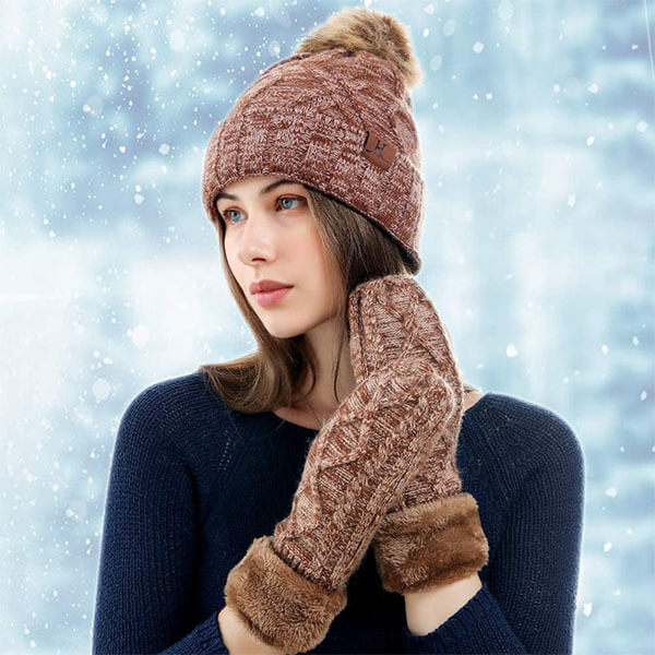 Mittens Glove Set With Warm knitting beanie