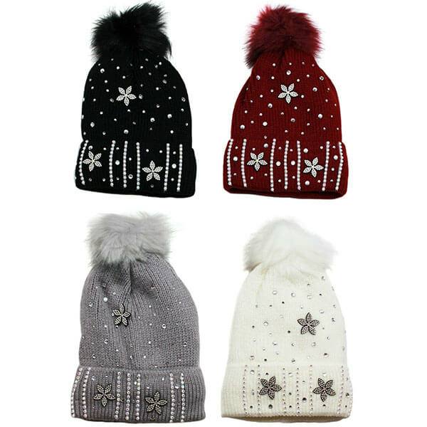 Studded Knitted Beanie Hat for Women