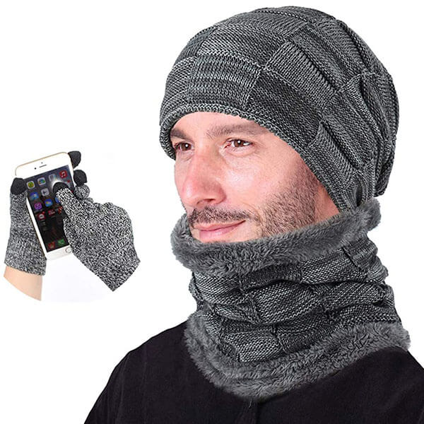 Knitted Skull Cap Style Winter Hat Scarf And Gloves Set For Men