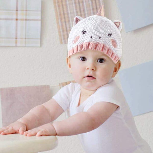 Unicorn Knitted Beanie Hat and Mittens