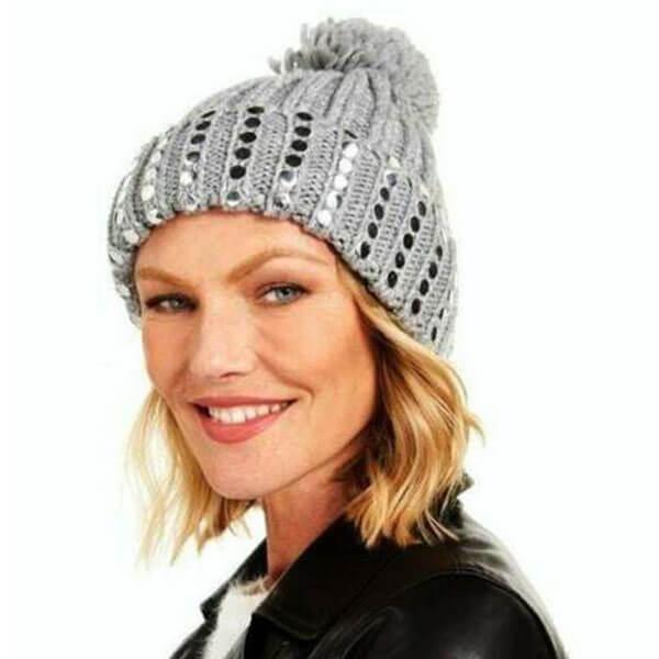 Women's Stud Knit Beanie Hat