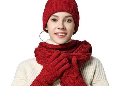 Women's Warm Winter Glove Scarf And Pompom Hat