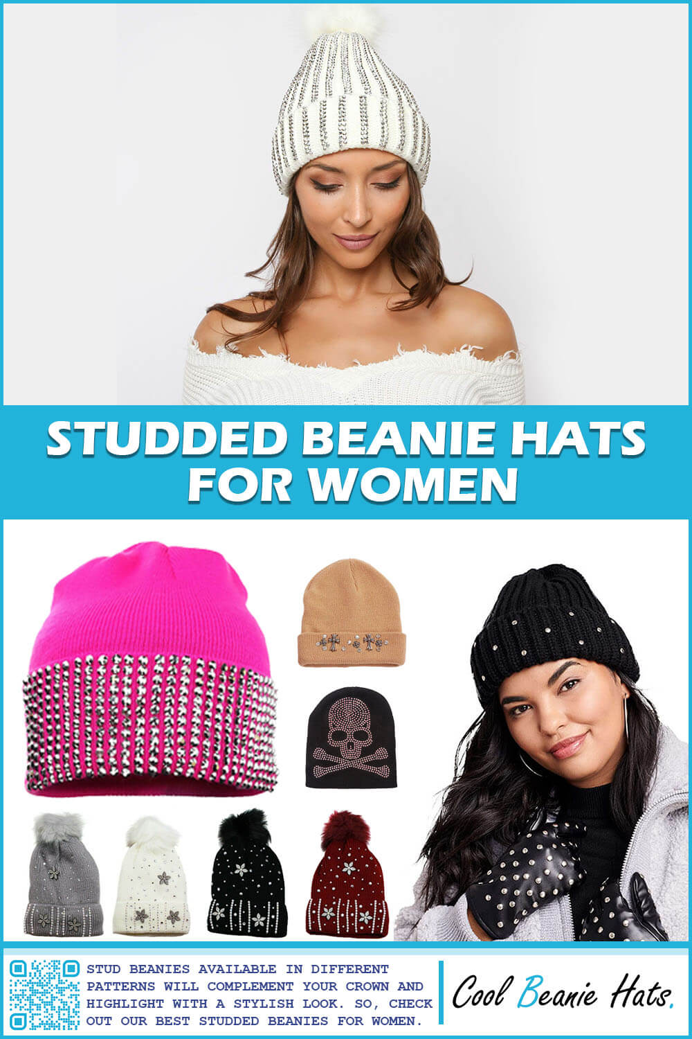 Studded Beanie Hats for Women