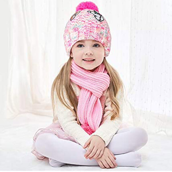 Knitted Unicorn Beanie Hat With Fleece Lining