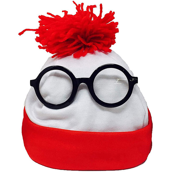 Red And White Waldo Beanie With Round Glasses