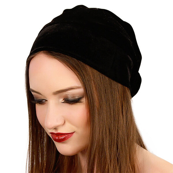 Velvet Stretchable Slouchy Beanie Knit Hat For Winter